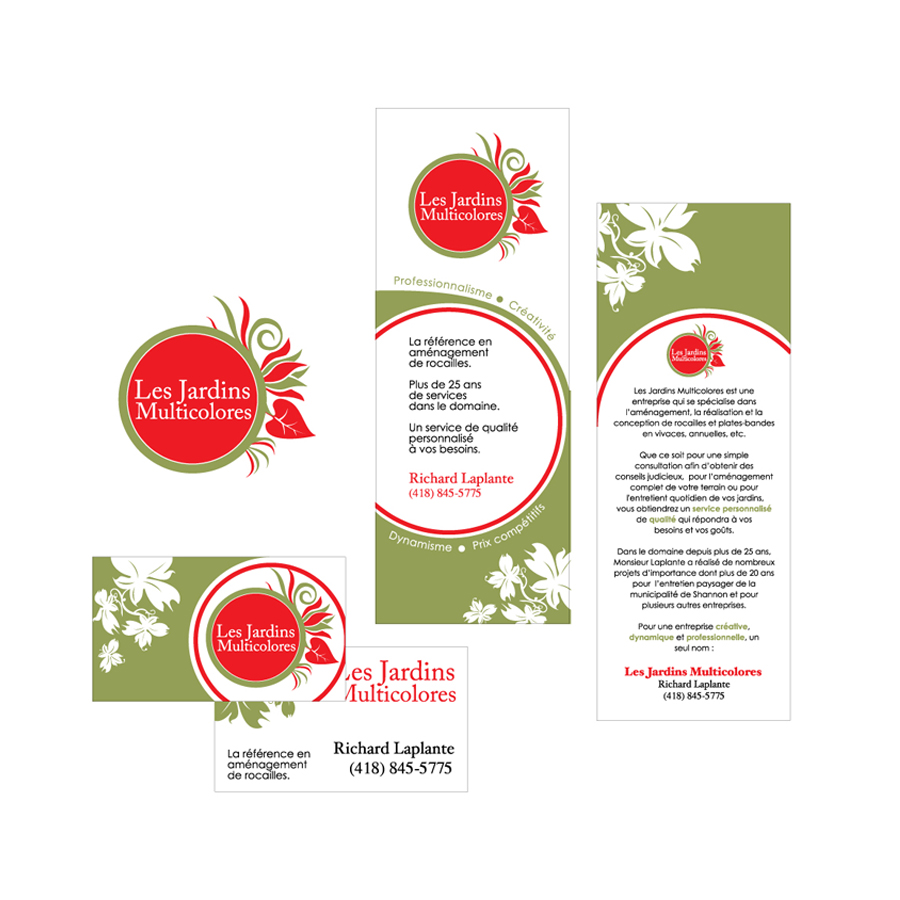 Design of a logo, a pamphlet and a business card for a landscaping company