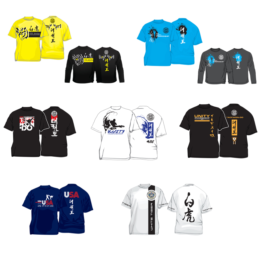 various t-shirts design for taekwon-do event