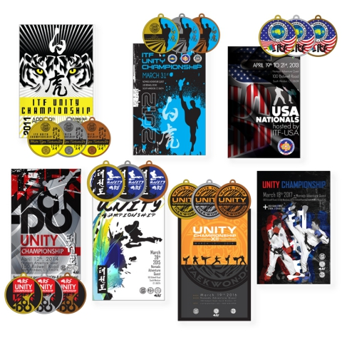 Design of posters and medal for Taekwon-Do events